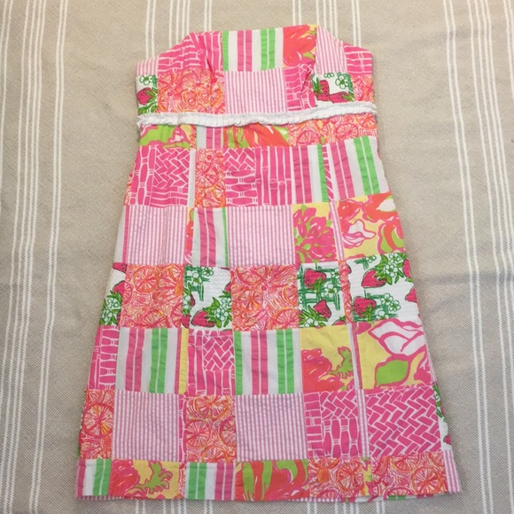 Lilly Pulitzer Dresses & Skirts - Lilly Pulitzer Patch-Work Strapless Dress
